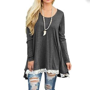 Tops - NWT Long Sleeve M Tunic with lace (charcoal gray)